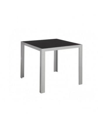 Mesa Cubic 80 x 80 cm. Cristal y Aluminio Gris Claro